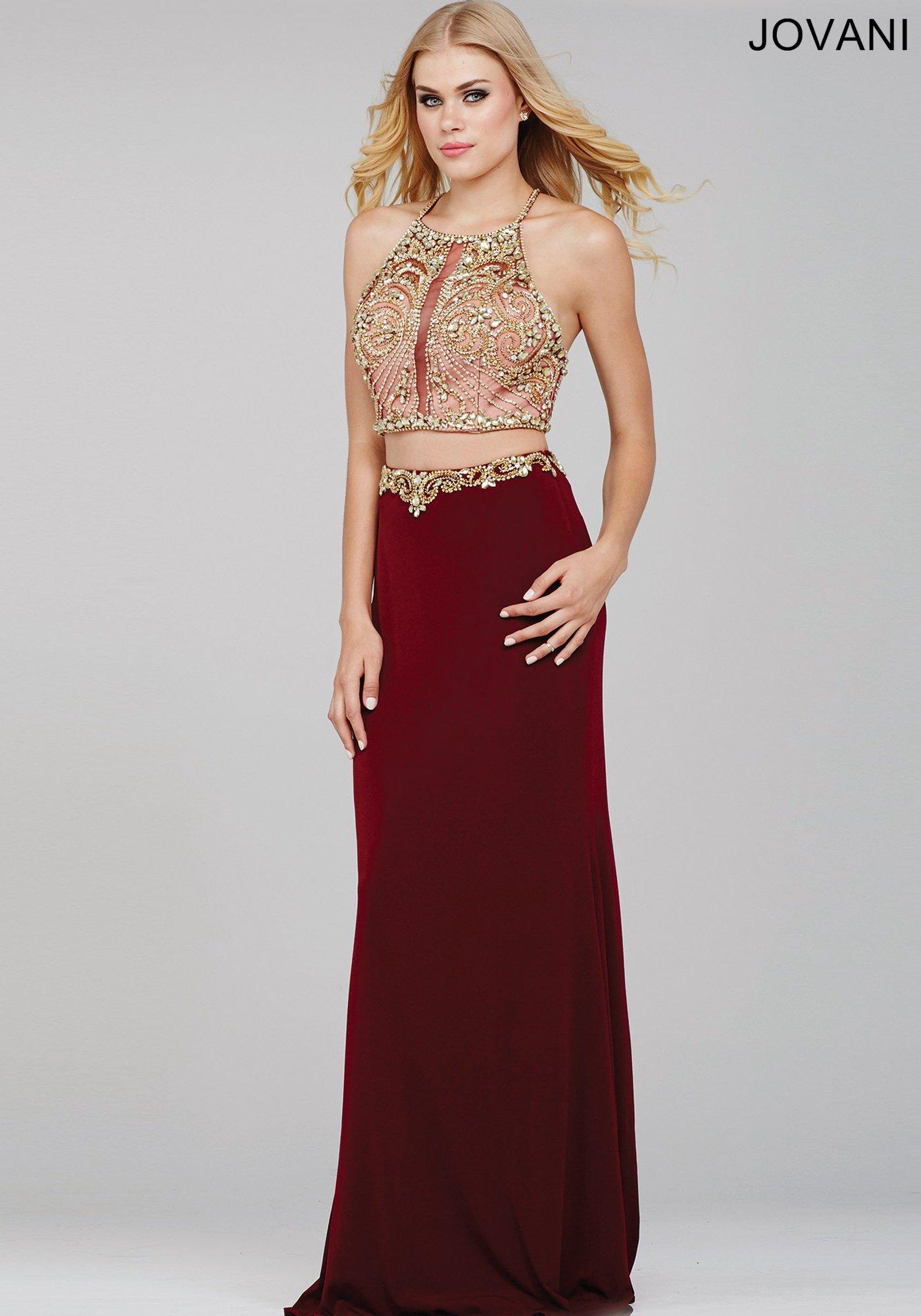 Burgundy Two-Piece Halter Dress - Play Dress Up